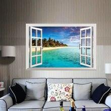 3D Janela Vista Tropical Mural Adesivo de Parede Sala de Home Decor Art Vinyl Decal DIY