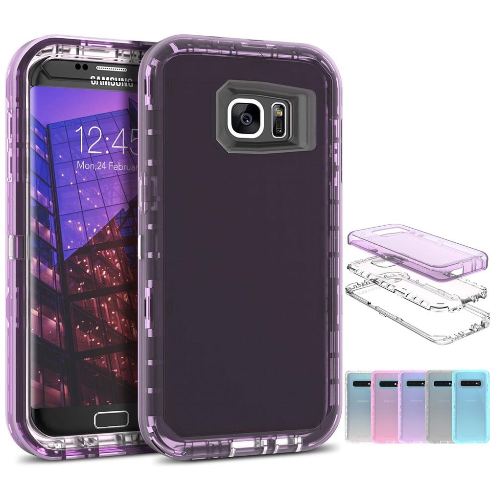 Caso para Samsung Galaxy S10 más S9 Plus híbrido 3in1 dura de la PC y del silicio suave armadura translúcidas del teléfono caso samsung Galaxy Note 8