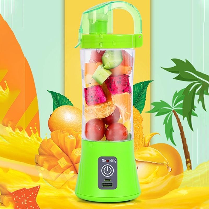 Licuadora y exprimidor portátil de 380ml, taza con USB recargable, eléctrica, automática, para verduras, fruta cítrica, zumo de naranja, taza mezcladora, botella