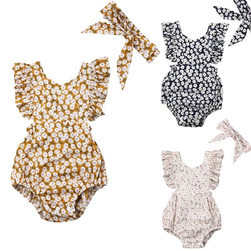 Милые Боди для новорожденных девочек с цветочным принтом + повязка на голову с бантом, 2 шт., летняя одежда, хлопковая одежда без рукавов с обо...