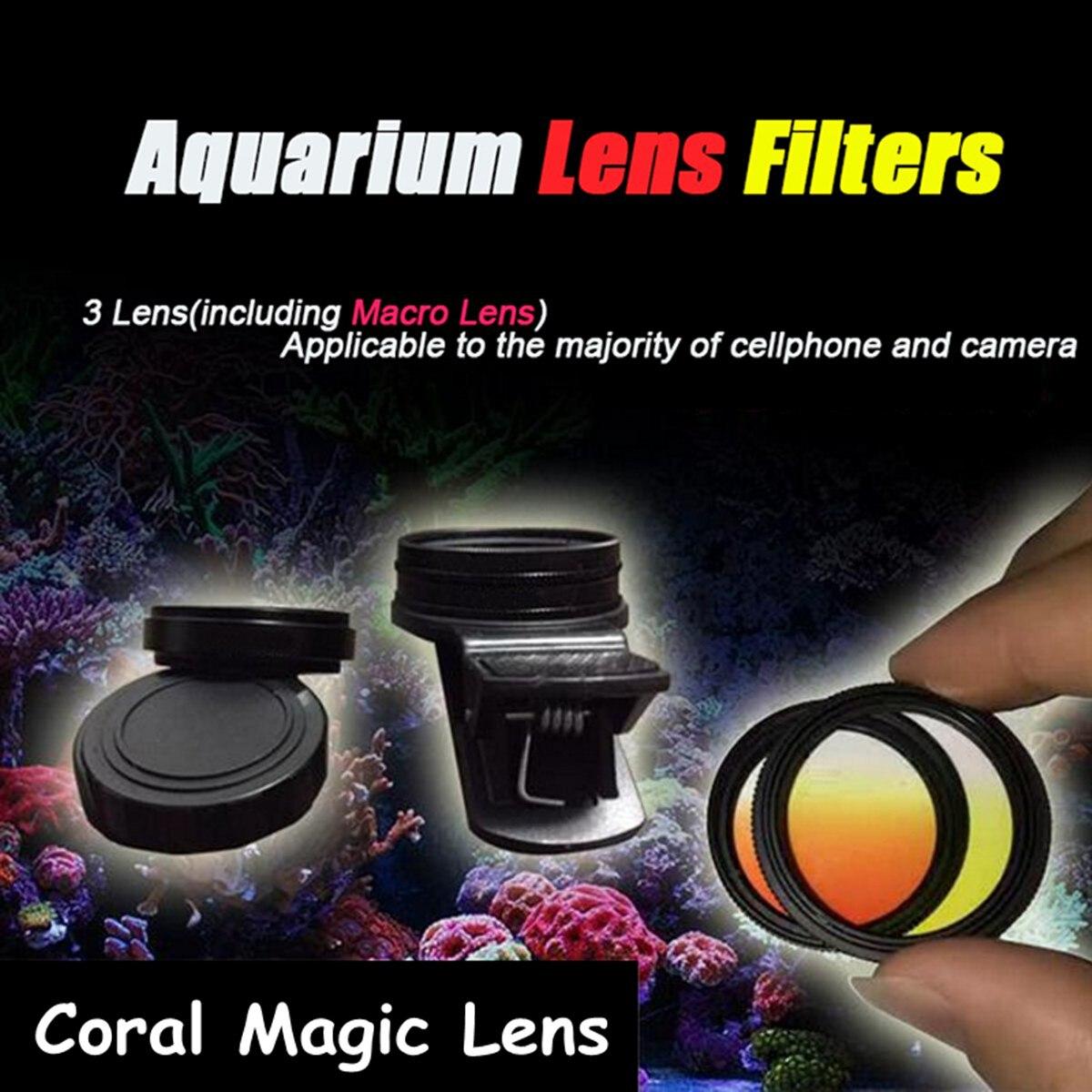 Acuario acuario peces arrecife de Coral lente mágico lentes de filtro de cámara de teléfono + 1 lente Macro Peces Accesorios Para terrario acuático