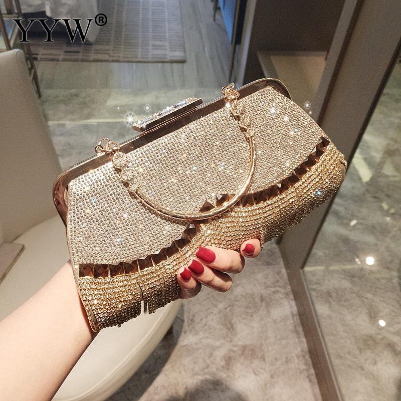 Strass Quaste Kupplung Tasche Frauen Gold Mode Party Hochzeit Handtasche Und Geldbörse Abend Taschen Perlen Metall Luxus Eleganten Tasche