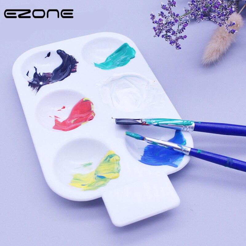 Paleta de 6 rejillas EZONE para pintura de acuarela Color caramelo círculo Paletters óleo Gouache dibujo acrílico bandeja paleta arte suministro