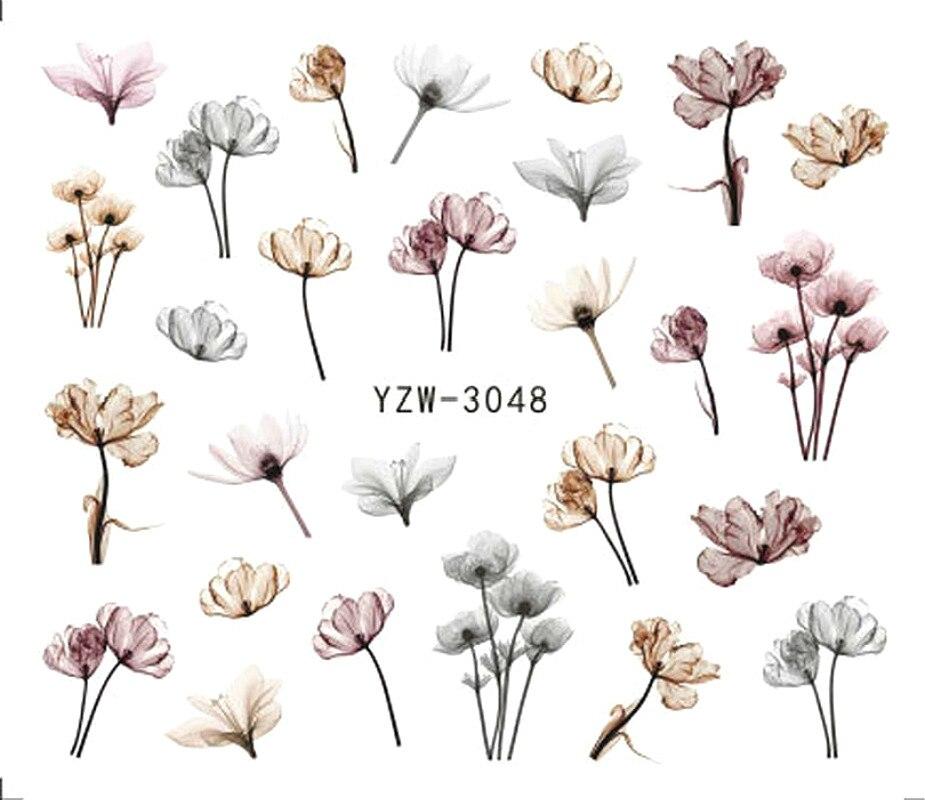 2 hojas diente de león uñas arte pegatinas Simple acuarela flores Nailart Kawaii agua calcomanías Diy 3d planta Deco encantos manicura nuevo