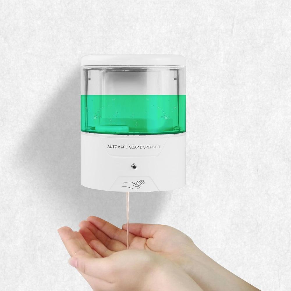 Dispensador de jabón líquido de 600ml dispensador automático de jabón con Sensor IR dispensador de jabón de pared sin contacto surtidor de loción y jabón de cocina para baño de cocina