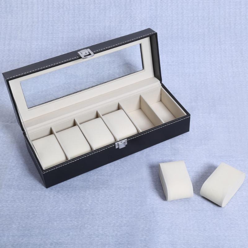 2 6 10 rejillas de cuero PU caja de reloj soporte profesional organizador para relojes de reloj cajas de joyería caja de exhibición mejor regalo