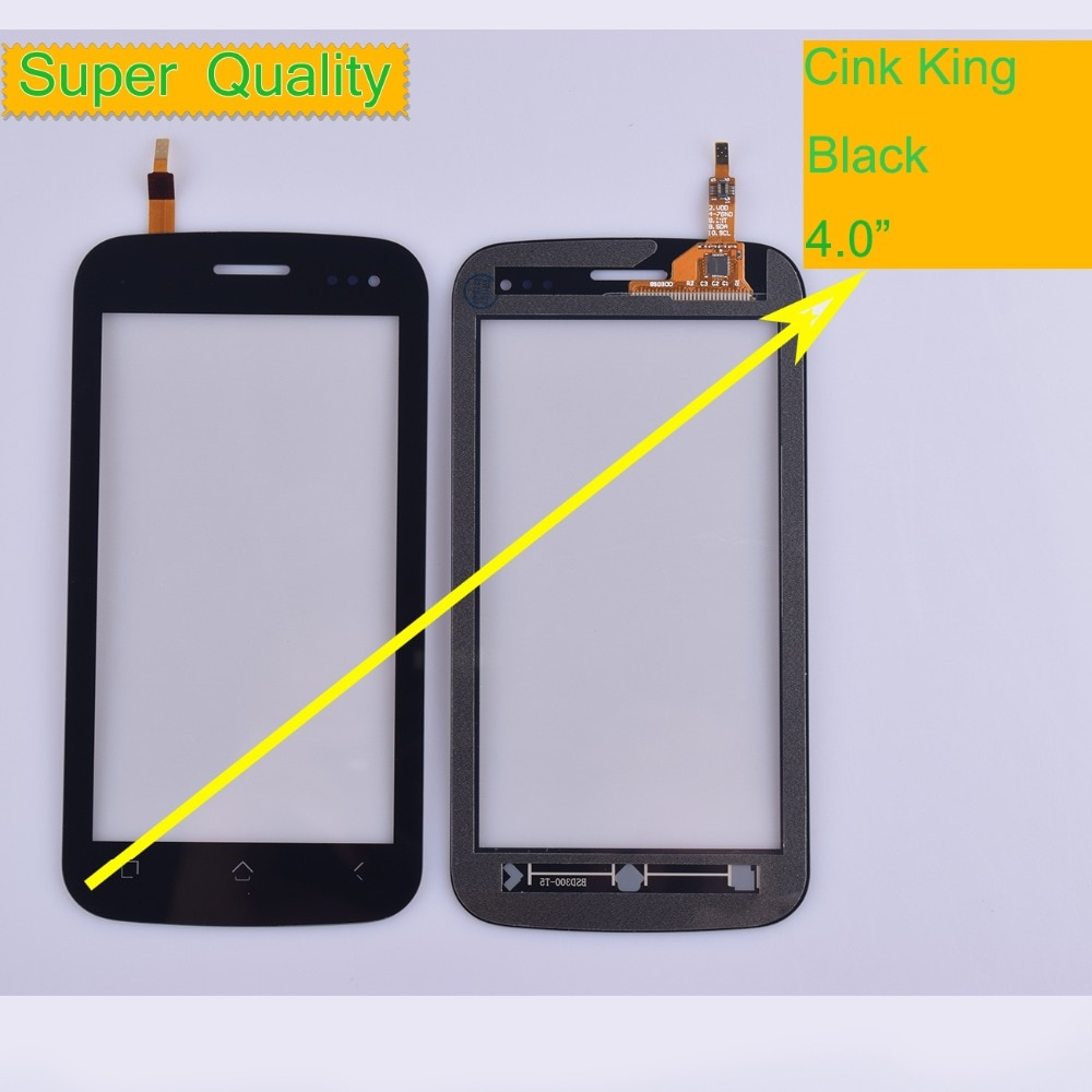 10 unids/lote para Wiko Cink rey Touch Sensor de Panel de pantalla digitalizador de vidrio exterior frontal pantalla táctil Cink rey Touch Panel Black