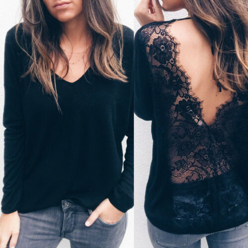 Hirigin Women Sexy Long Sleeve V-neck Backless T Shirt Casual Lace Patchwork Loose Top T-Shirt