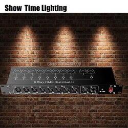 Controlador de dj divisor luz palco dmx 512 amplificador sinal divisor 8 way dmx distribuidor para equipamentos palco mostrar tempo