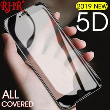 Vidrio Protector de pantalla RHR 5D para iPhone 7 8 6 6 S Plus X cubierta completa de vidrio templado para película protectora de vidrio para iPhone 7X10 6
