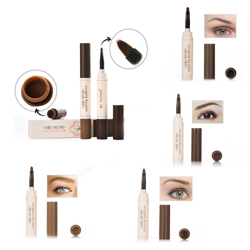 Nuevo maquillaje lápiz de cejas con pincel impermeable cejas tatuaje de tinta lápiz para cejas pintura crema cera cosméticos profesionales TSLM1