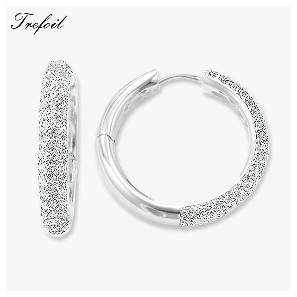 Pendientes grandes con bisagras Creole, joyería de boda de moda de Zirconia cúbica, hipérbole blanco, regalo de plata esterlina 925 para mujer