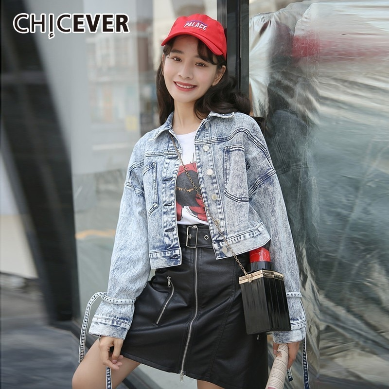 Женское джинсовое пальто CHICEVER, с длинным рукавом и карманами на кнопках