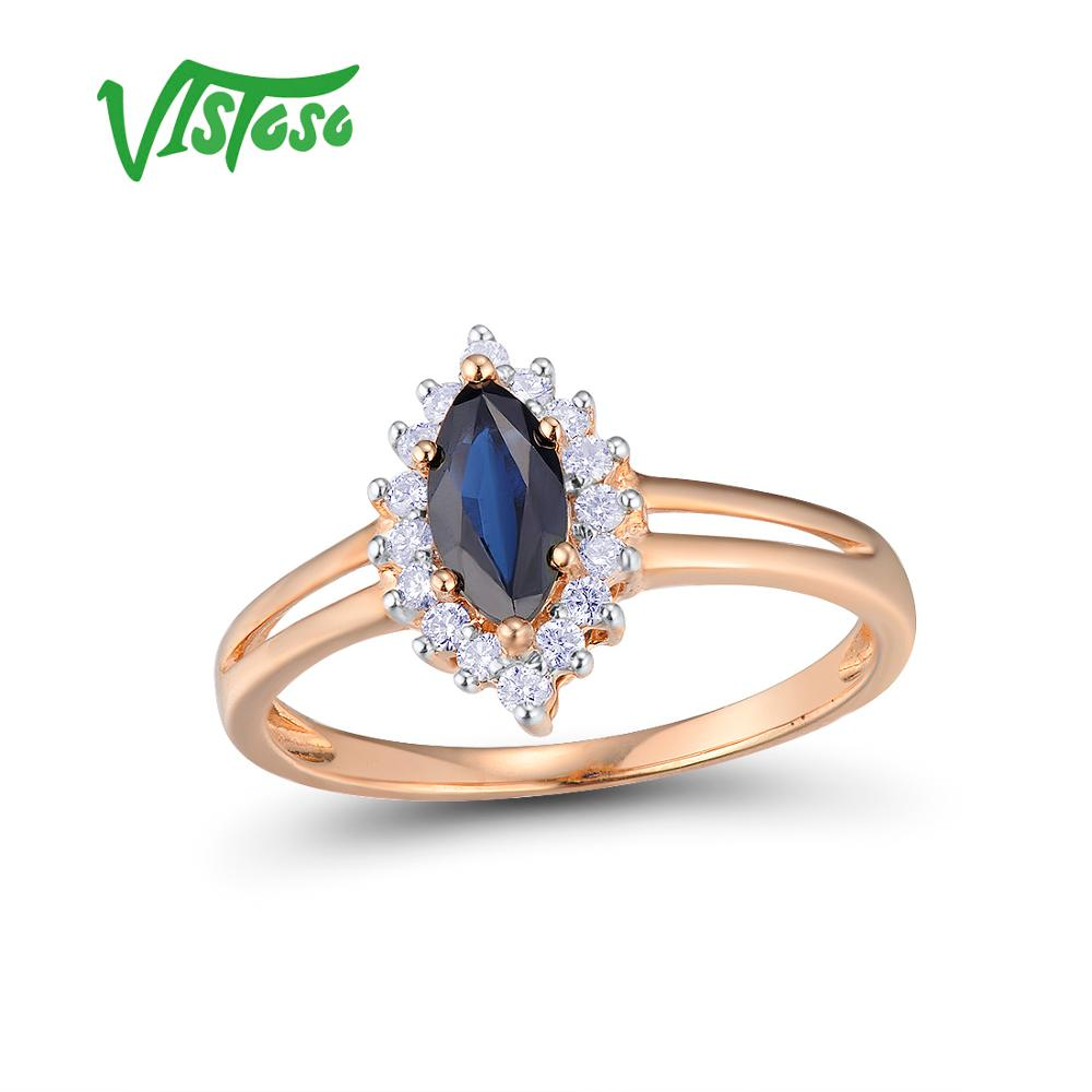 VISTOSO خواتم الذهب للنساء حقيقية 14K 585 خاتم الذهب الوردي تألق الماس البيضاوي الأزرق الياقوت خاتم الزفاف الفرقة غرامة مجوهرات