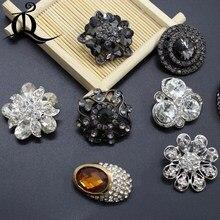 Manteaux décoratifs en forme détoile fleur   Boutons noirs, dorés diamant, en diamant, manteaux vison, Cardigan pull, boucle grands boutons métalliques 28-30mm