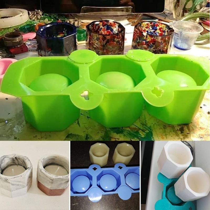 3 отверстия силиконовые формы для бетона чашки кактус цветочный горшок форма керамическая Глина Ремесло литье бетона чашки прессформы аксессуары