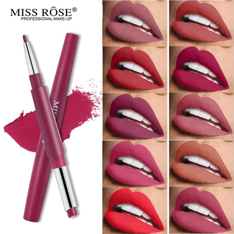 Miss Rose double-end Rouge à lèvres + Lipliner ensemble soyeux mat lèvre Stick imperméable nu lèvre Liner doux longue tenue Rouge lèvres Batom