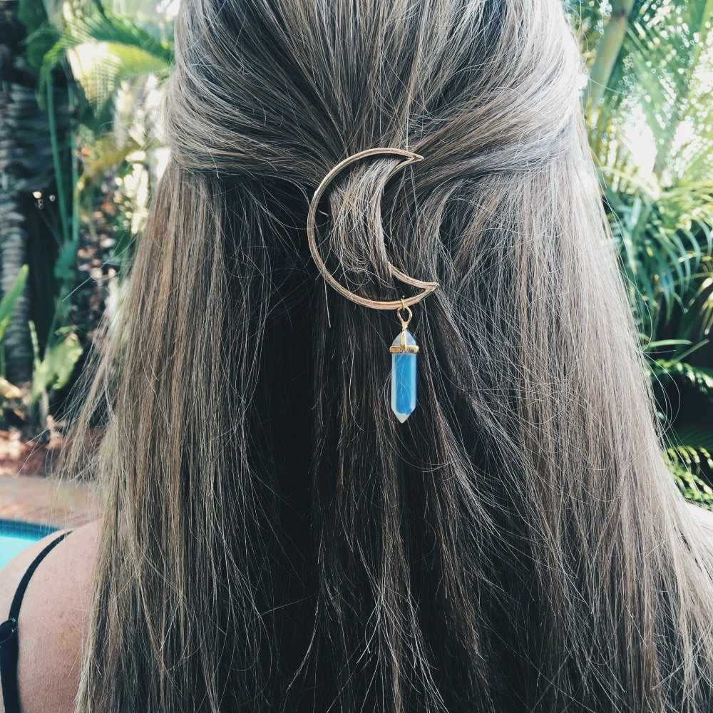 Заколки для волос в форме Луны Sedmart, шестиугольная Призма из натурального кварца, Очаровательная шпилька для волос, головные уборы, подарки, головной убор для женщин, 8 видов цветов