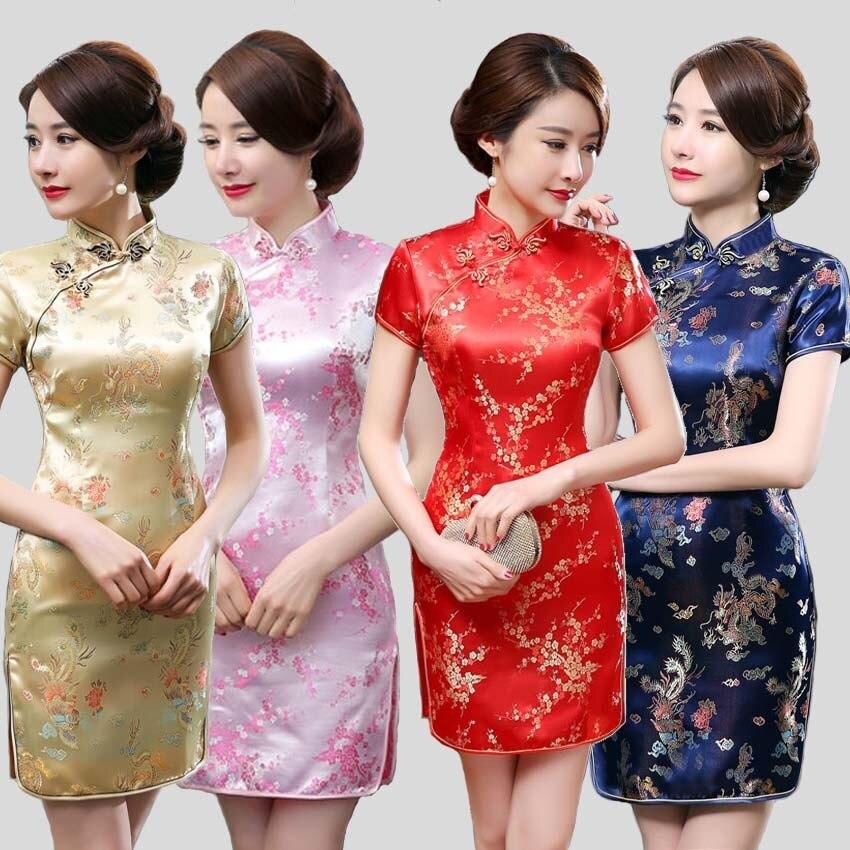 Vestido Cheongsam corto de mujer, vestido Qipao estilo chino tradicional de raso azul marino, vestido Mini de talla grande XL 3XL