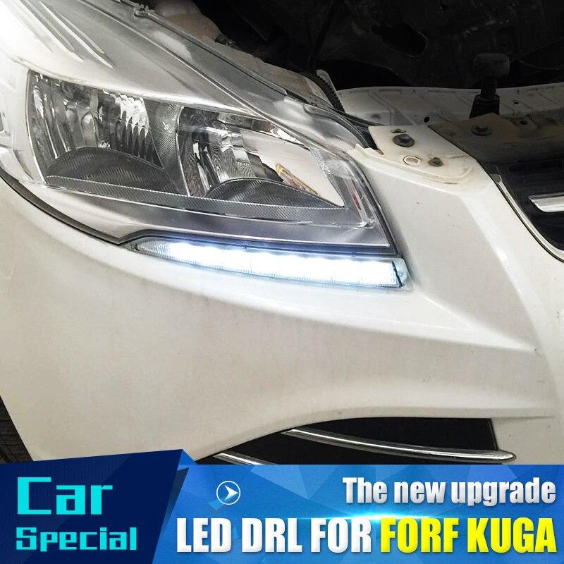 2 teile/satz wasserdicht Auto led Tagfahrlicht drl tageslicht led auto für Ford Kuga Escape 2012 2013 2014 2015 mit nebel lampe