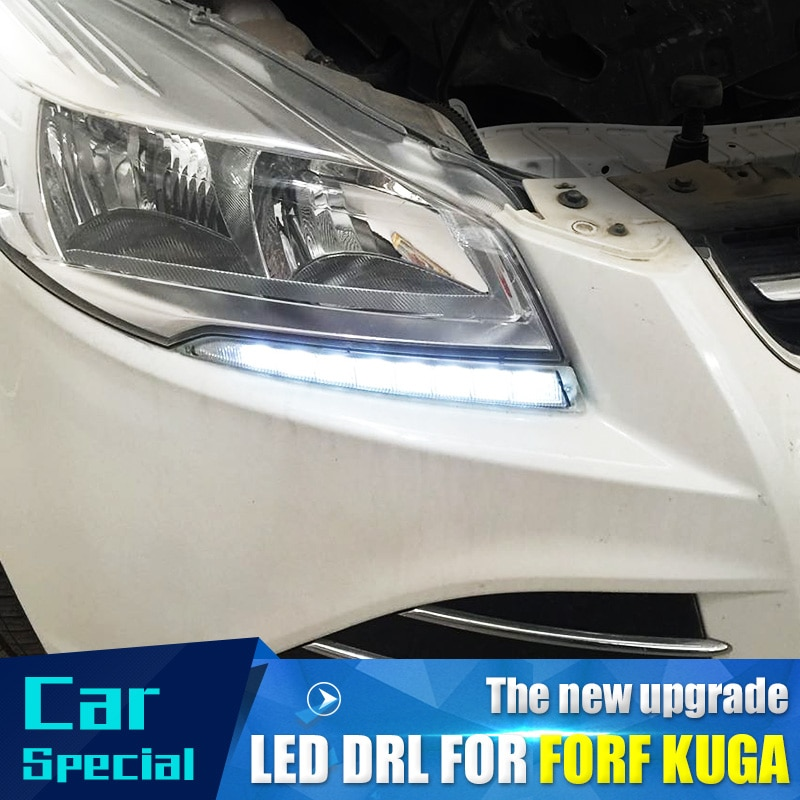 2 unids/set impermeable coche luz led de conducción diurna drl luz diurna led coche para Ford Kuga Escape 2012 2013 2014 2015 con lámpara antiniebla