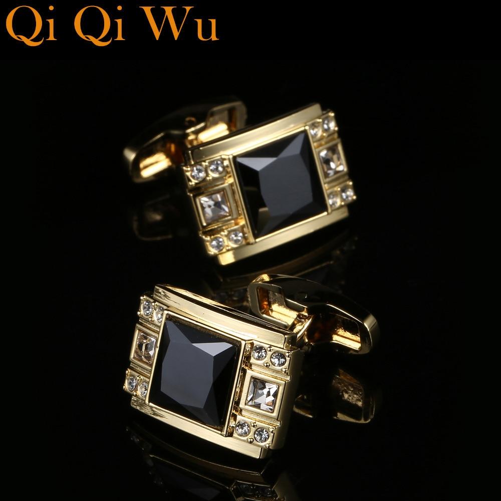 Mens Luxury Black Crystal Cufflinks Suit Shirt High Quality Cuff links Fashion Wedding Cufflink Gift Jewelry Men's Accessories