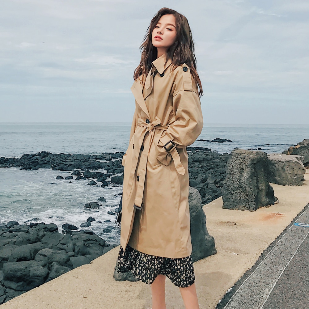 Fashion Brand New Women Trench Coat Long Double-Breasted Belt Blue Khaki Lady Clothes Autumn Spring