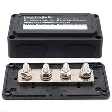 BMBY-DC 48V 300A 4 Terminal Studs Rail Power Distributie Blok Voor Auto Boot (Zwart)
