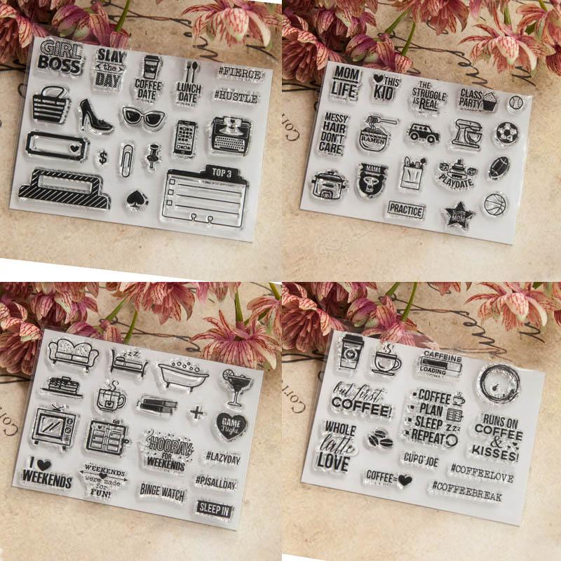 Álbum de fotos decorativo tarjetas de papel artesanía pequeña tarjeta de icono hecho a mano regalo transparente sello de silicona transparente/sello