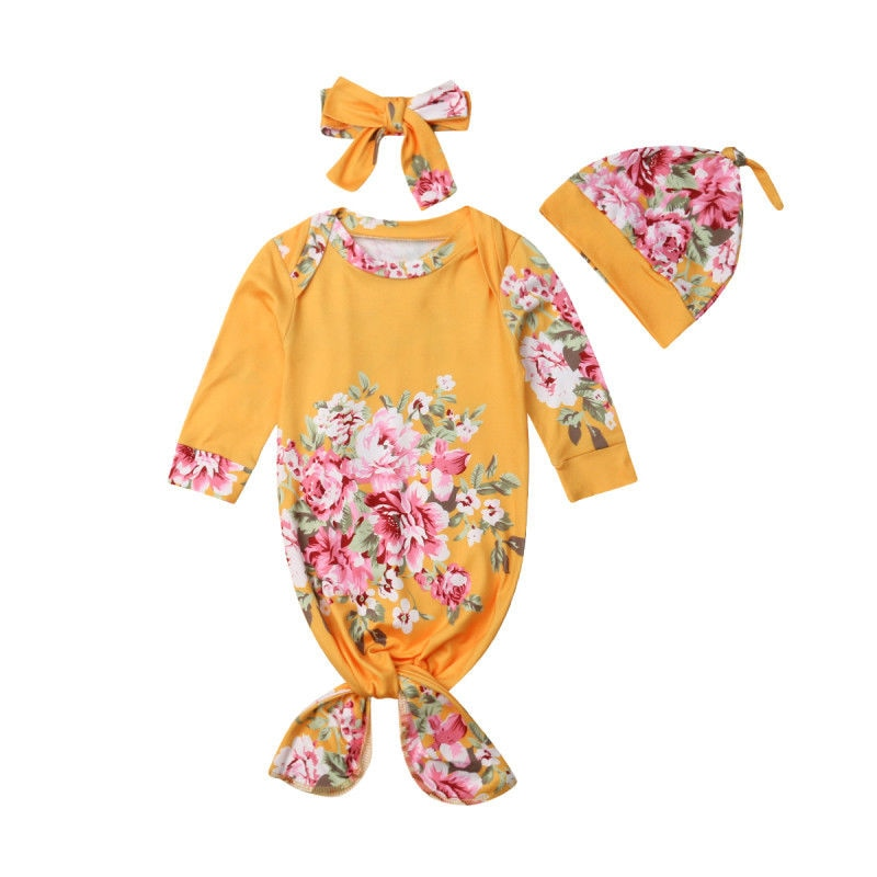 3 шт./комплект Детские муслиновые пеленки с цветочным принтом|Комбинезоны-пижамы|