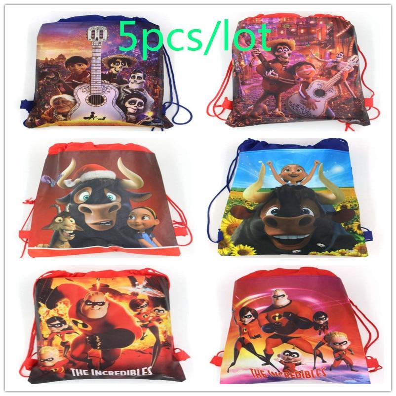 5 unids/lote de dibujos animados CoCo los increíbles Ferdinand bolsas con cordón mochila de cuerda escolar Favor de los niños bolsas de regalo para fiestas de cumpleaños