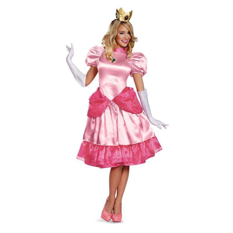 Sexy French Maid Costume Peach Princess Cosplay Sissy Uniform Halloween Costumes