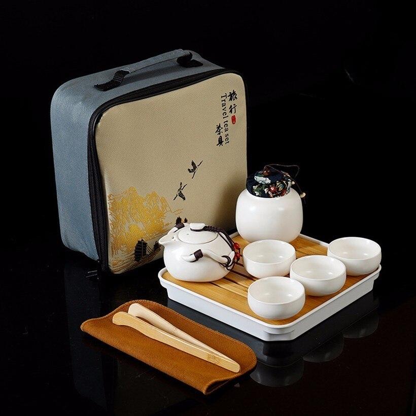Juego de té Kung fu de 10 Uds., juego de té portátil de cerámica de viaje chino tetera hermosa y fácil tetera, bandeja de cerámica taza de café lata de té