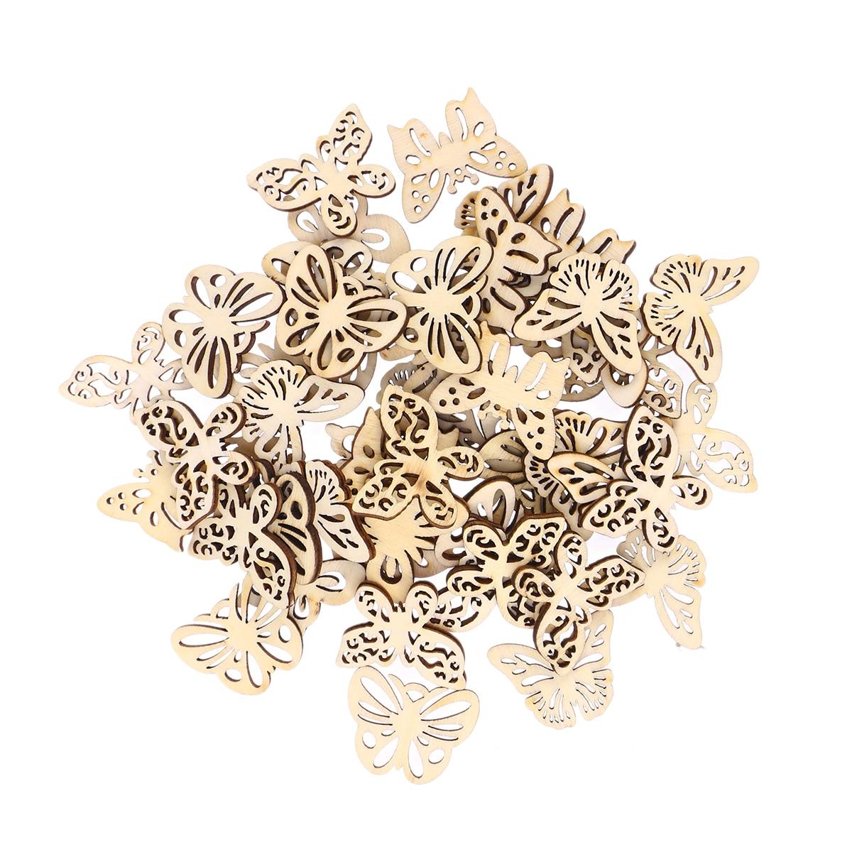 50 unidades de recortes variados de mariposas de madera para manualidades, adornos de madera para manualidades, adornos para manualidades, decoraciones artísticas para bodas (33mm)