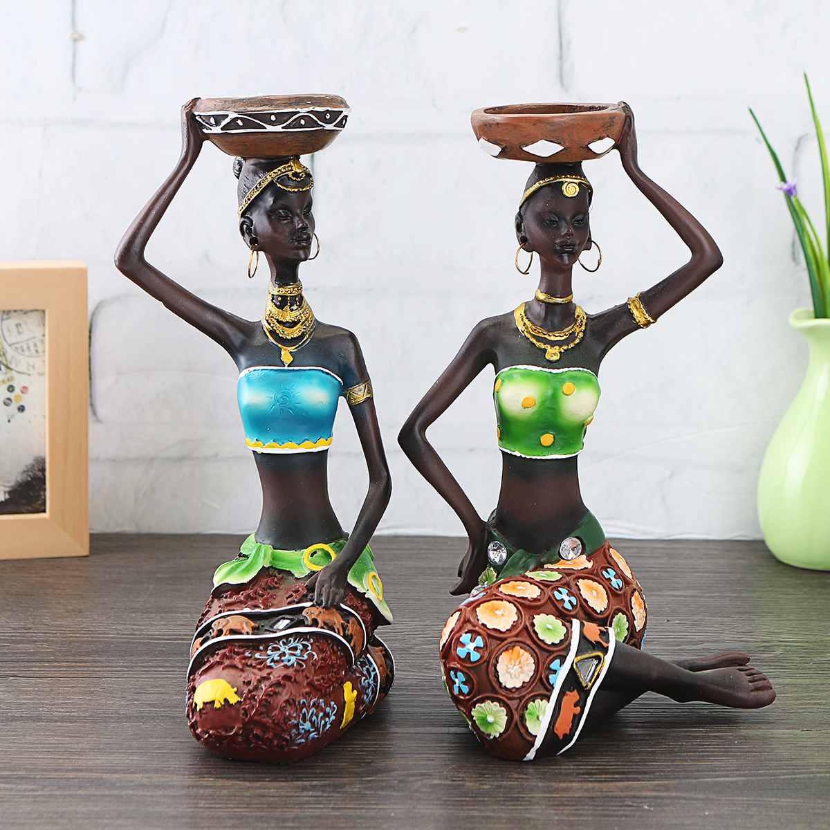 1 par de decoração para casa mulheres africanas resina estátua castiçal artesanato estátua jantar presente casamento decoração casa escultura presente