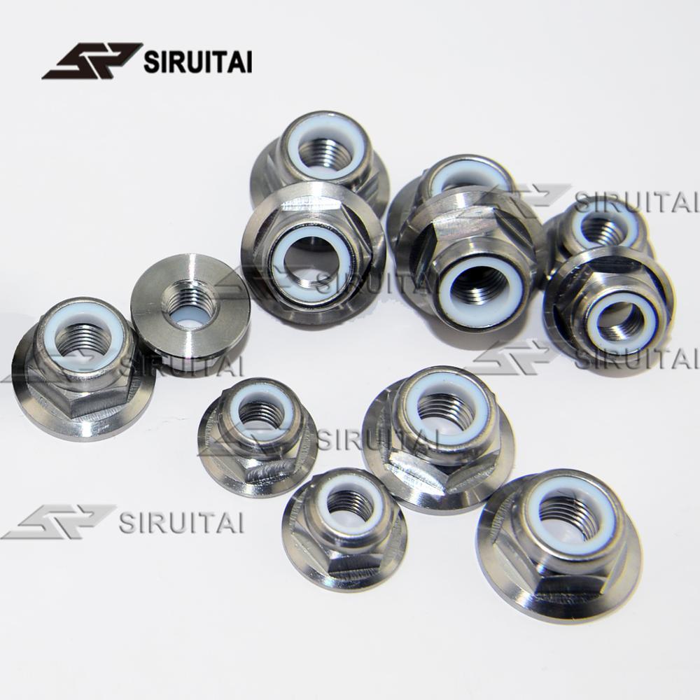 Titanium alloy flange nylon lock nut M6 M8 M10 x 1.5 / 1.25 motorcycle modified nut