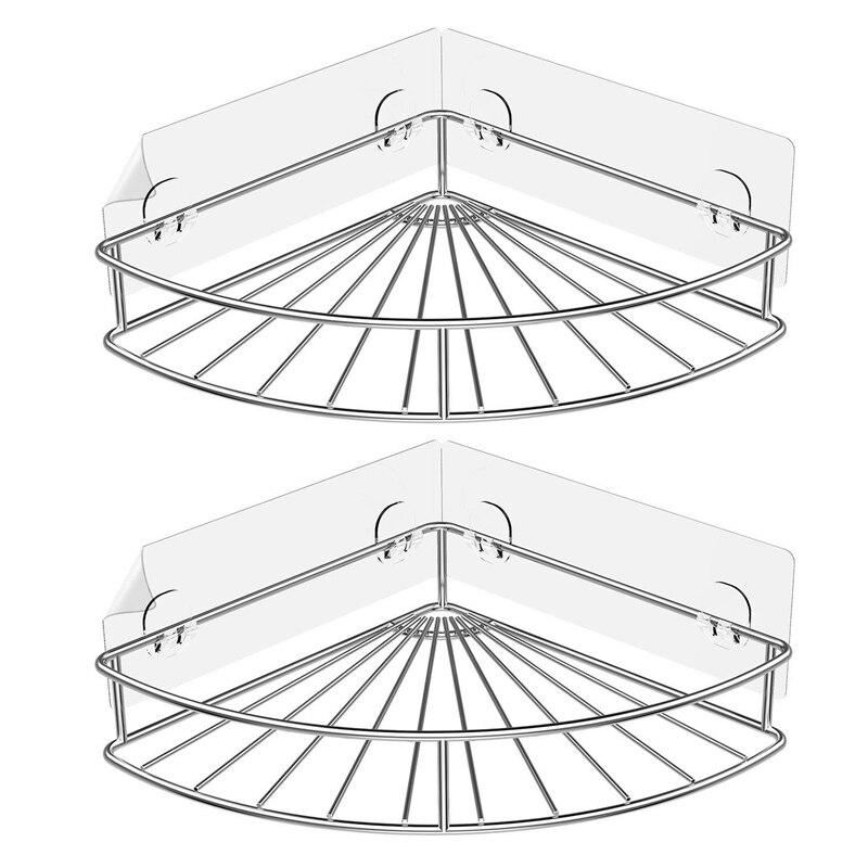 Esquina adhesiva estante de baño almacenamiento montado en la pared carrito con estantes para ducha organizador para cocina inodoro acero inoxidable sin perforación