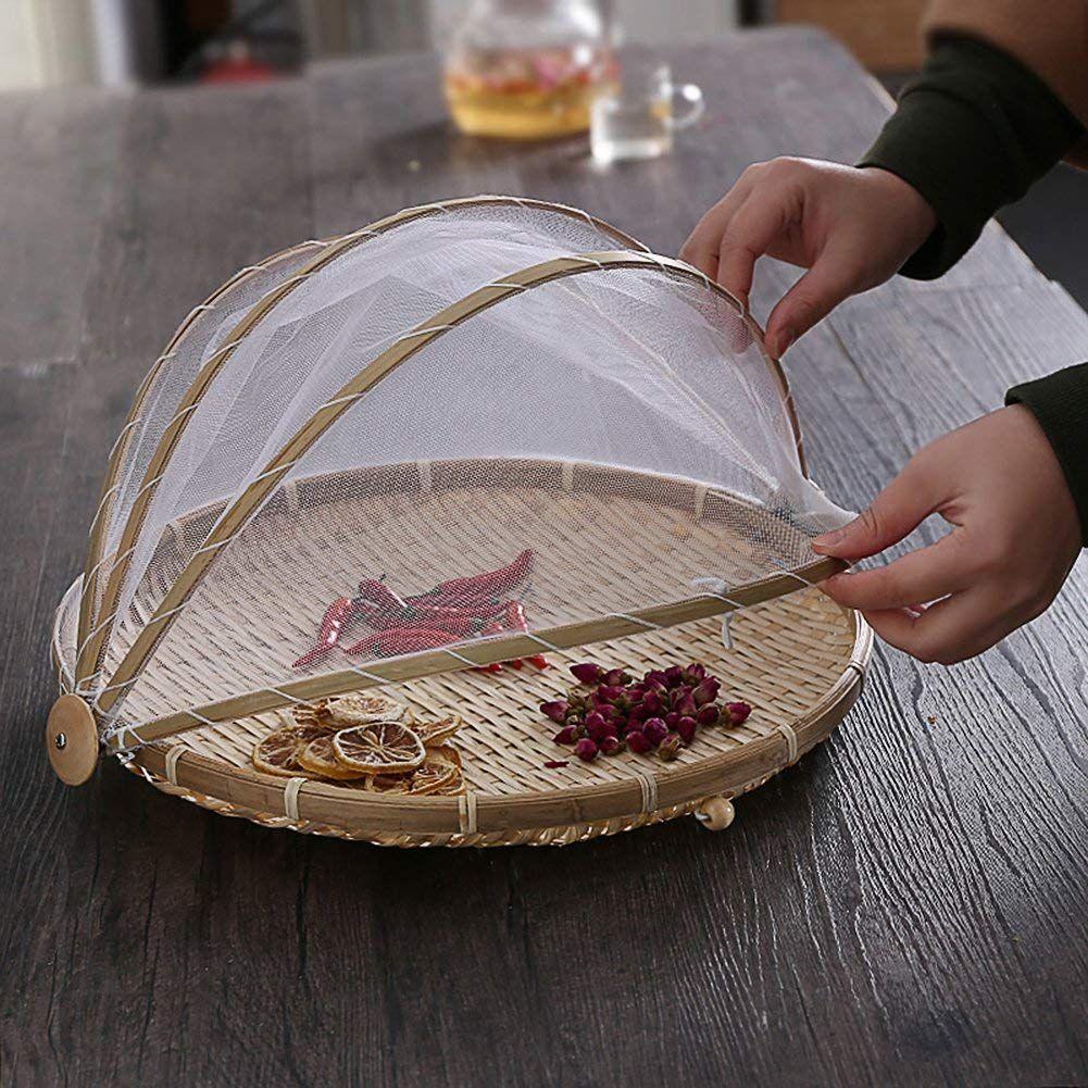 Nuevas cestas de almacenamiento fundas de bambú Insta para alimentos 42cm cucuvercle Cuisine cubre el polvo para la cocina cesto para la ropa herramientas