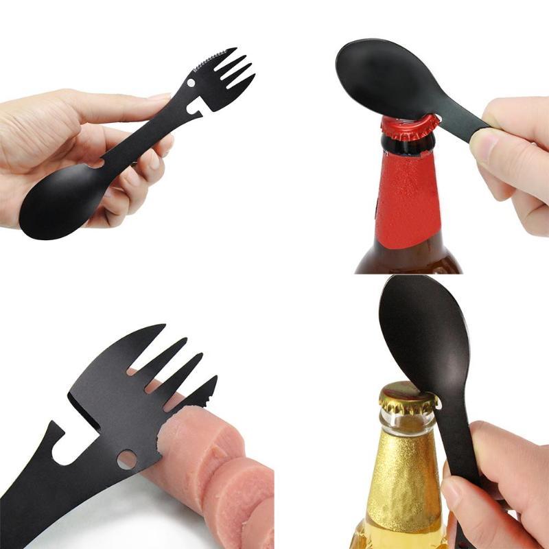 5 in 1 Portable Fork Shape Bottle Openers Multifunctional Camping Equipment Cookware Spoon Fork Bottle Opener Kitchen Bar Tool