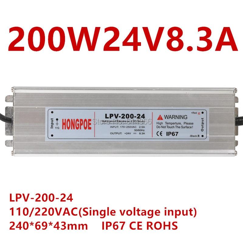 1 piezas IP67 AC-DC controlador de LED 200 W 24 V fuente de alimentación 24 V 200 W 8.3A LED de luz de tira fuente de alimentación LED exterior LPV-200-24