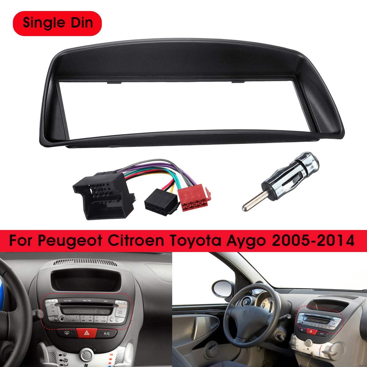 1 Din Car radio estéreo para panel de salpicadero embellecedor de placa Cubierta de marco para Citroen C1 para Toyota Aygo para Peugeot 107