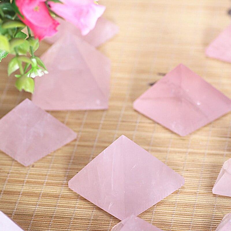 DIY 20-40mm Natural cuarzo rosa pirámide piedra cristal Feng Shui curación especímenes