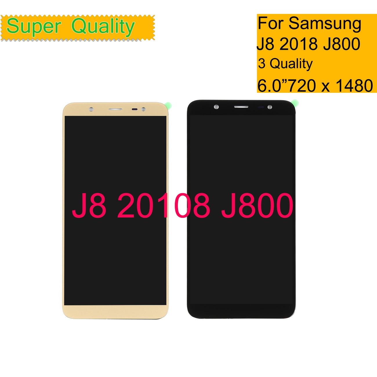 10 unids/lote para Samsung Galaxy J8 2018 J810 J810F SM-J810F J800 Digitalizador de pantalla táctil de cristal de montaje de panel de pantalla LCD completa