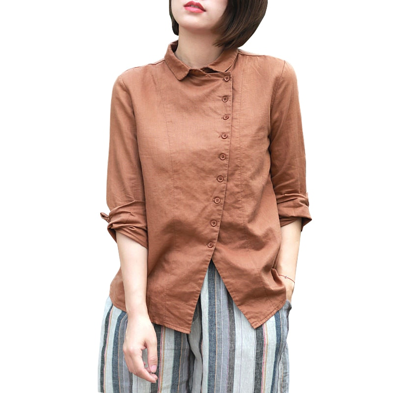 Blusa de lino de algodón de primavera para mujer, blusa informal de manga larga con botones femeninos para mujer, camisa de niña china, ropa barata de talla grande