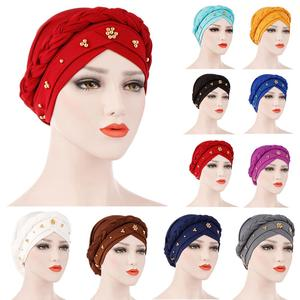 Abaya Women Bonnet Turban Muslim Braid Cap Beading Bandanas Hairband Hat Islamic Beanie Skullies Hair Loss Chemo Cap Fashion New