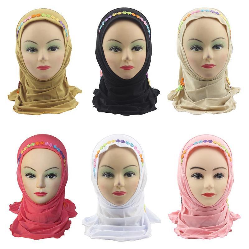 Niños Niñas musulmán pañuelo para la cabeza musulmán niños Simple Hijab sección de encaje suave Niño de lino de cristal suave niños Wrap Gorro con bufandas