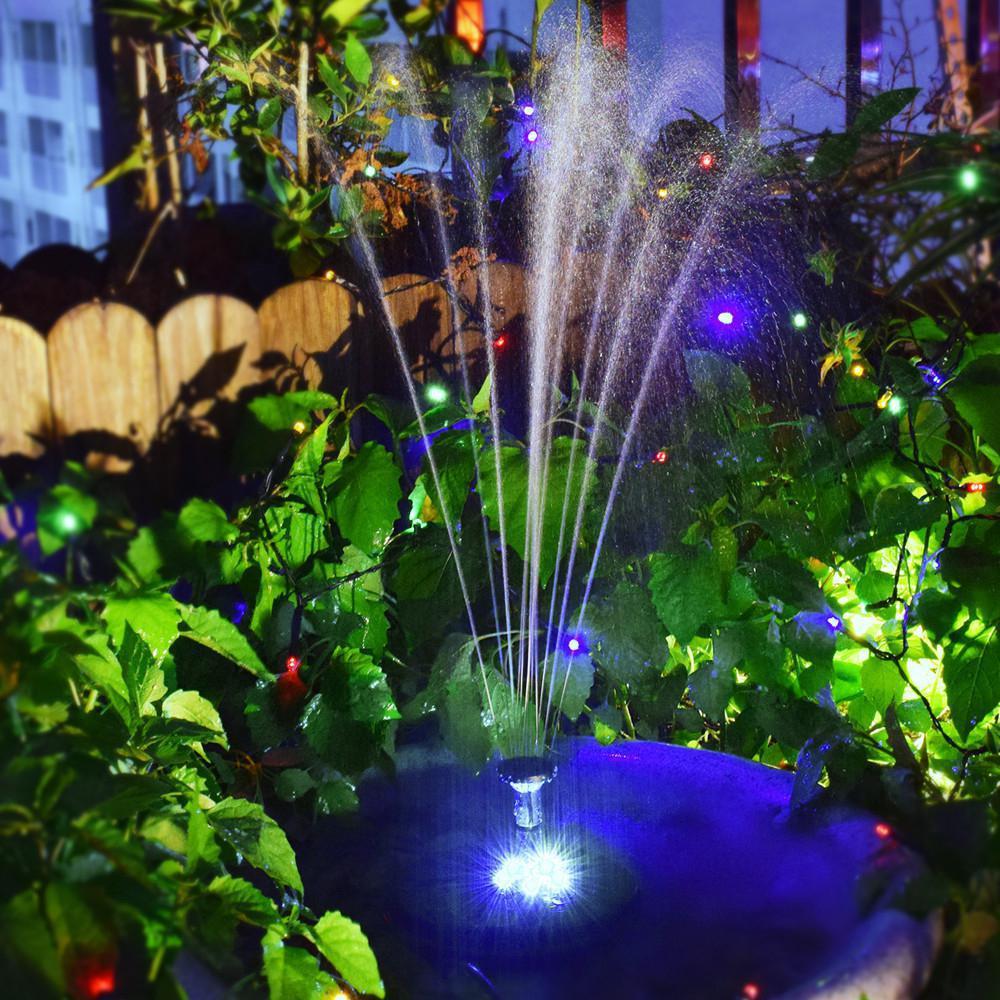 Fuente Solar al aire libre iluminación LED fuente de agua flotante Solar bomba piscina tanque de peces estanque decoración de jardín y paisaje