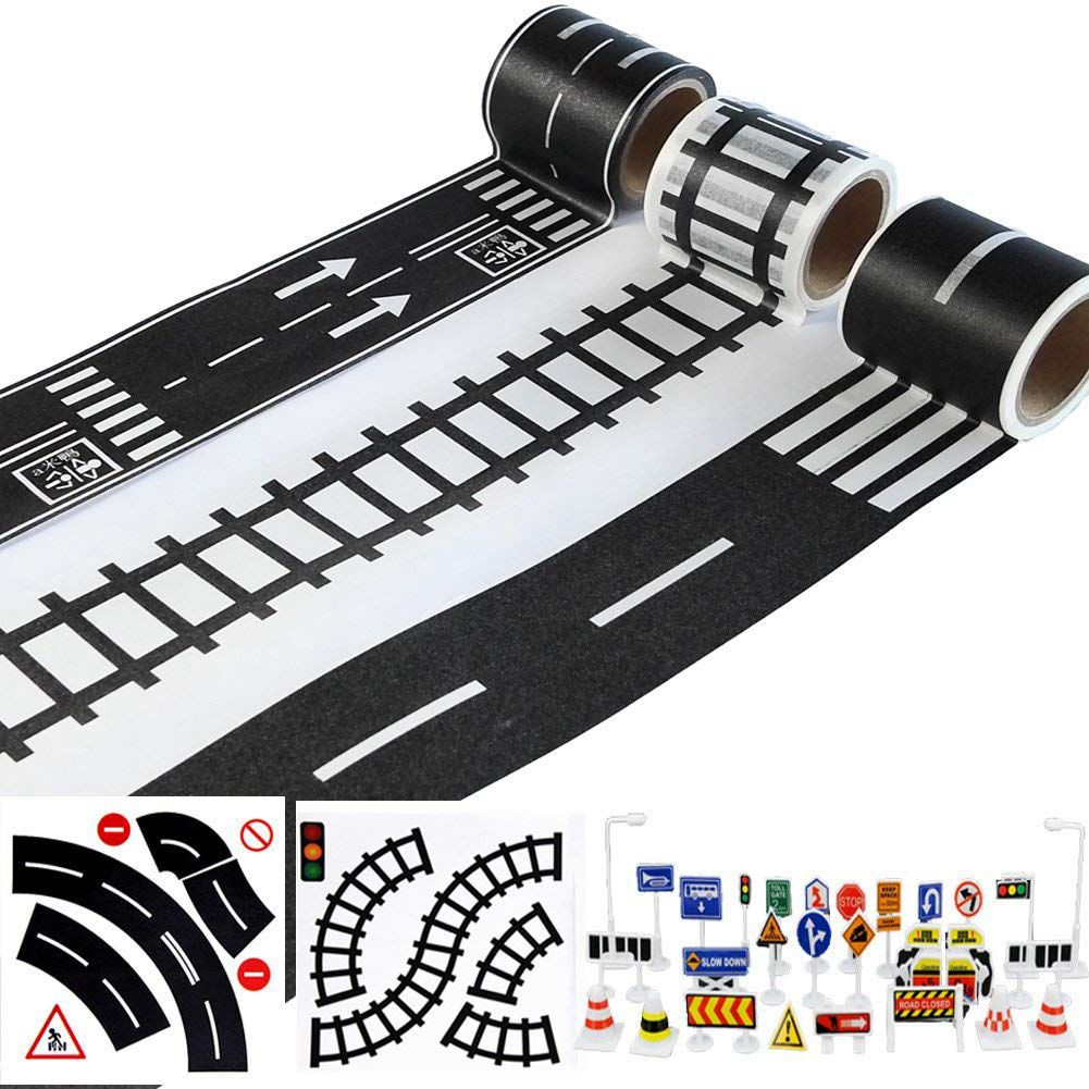 Play Road Tape for Toy Cars and Trains 3 Rolls 4.8cmx5m Straight Curve Track Traffic Signs - Kids Gifts