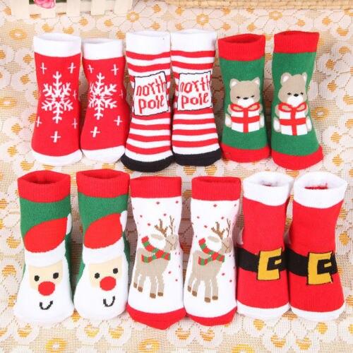 Natal do bebê meninos meninas algodão bonito meias infantil criança crianças natal macio meias do bebê 0-2t