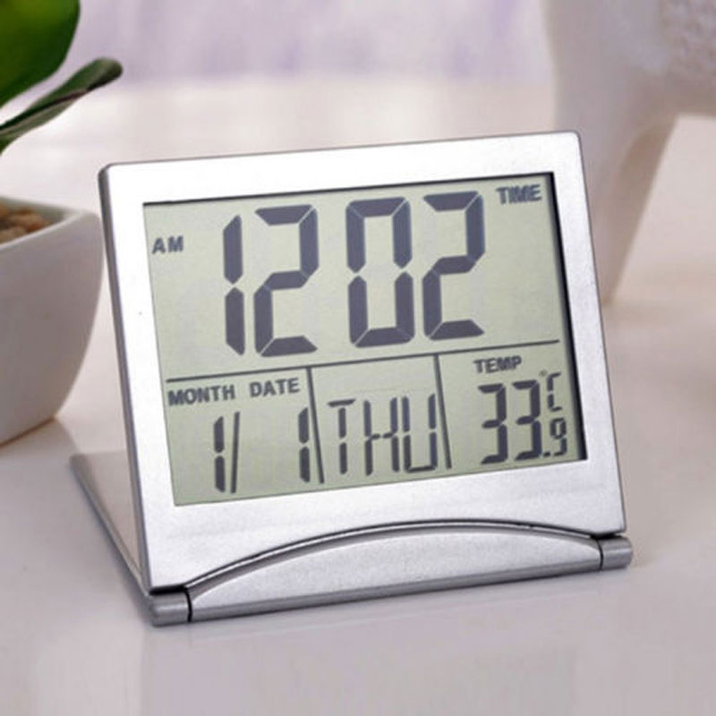Mini Folding LCD Digital Alarm Clock Desk Table Weather Station Desk Temperature Portable Travel Alarm Clock CA